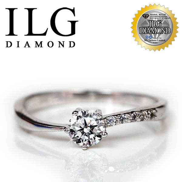 【ILG鑽】頂級八心八箭擬真鑽石戒指