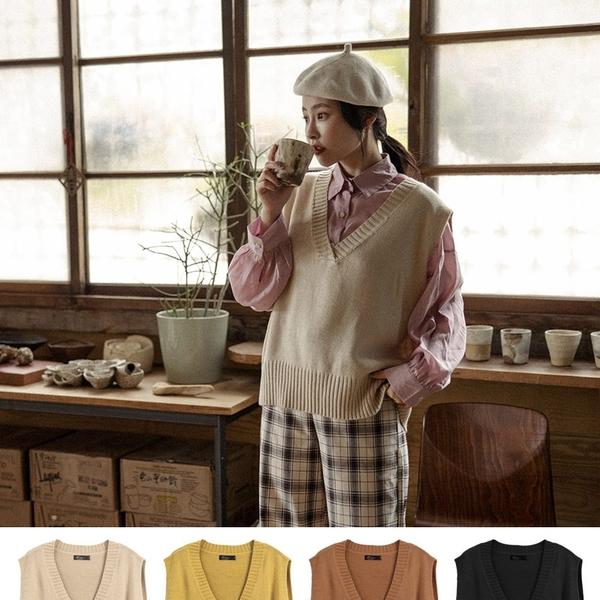 Queen Shop【01041602】單色V領羅紋針織背心 四色售*現+預*