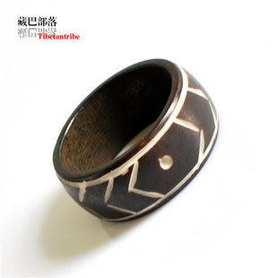 藏飾風格刻花犛牛骨戒指