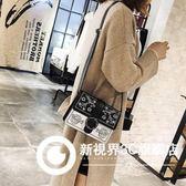包包女2018新款韓版繡花撞色小方包個性潮流單肩包百搭潮流斜挎包