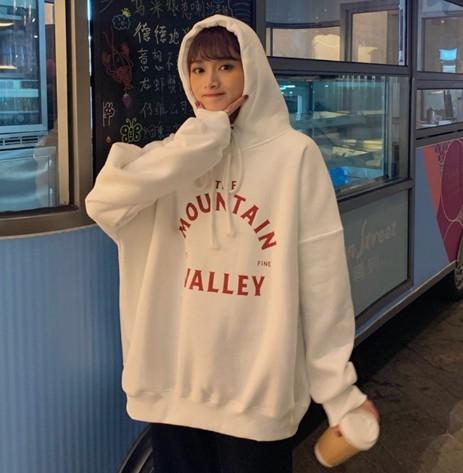EASON SHOP(GW8487)韓版英文字母印花連帽長袖T恤女上衣服寬鬆落肩長版大學T加厚灰色素色長版閨蜜裝