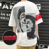 『潮段班』【HJ000036】S-5L素色背後小丑拼接圖樣袖子衣襬繡標設計圓領短袖上衣T恤