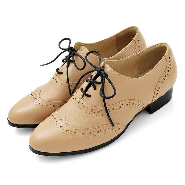 karine(MIT台灣製)全真皮綁帶低跟牛津鞋-奶茶色