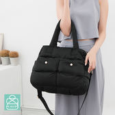 空氣包 側背包 斜背包 兩用素面雙口袋設計媽媽包 女包 89.Alley-HB89222 黑色