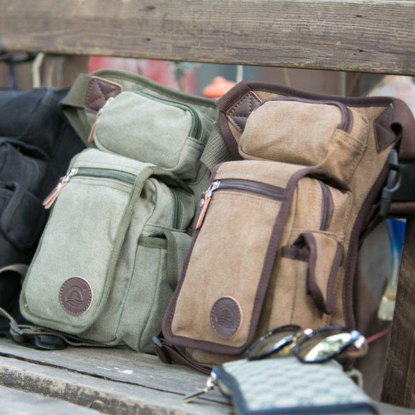 男士多功能帆布腿包軍迷戰術包戶外運動騎行腰包綁腿包