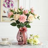 花瓶 歐式簡約彩色玻璃花瓶水培玻璃透明鮮花富貴竹插花客廳 nm11825【甜心小妮童裝】
