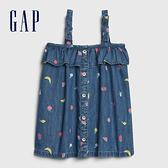 Gap嬰兒 童趣水果印花吊帶洋裝 544040-深色水洗做舊