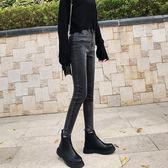 復古煙灰色加絨牛仔褲女小腳褲高腰冬季修身顯瘦加厚黑色鉛筆褲子
