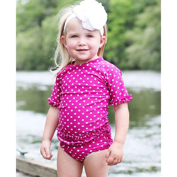美國RuffleButts 女寶寶 二件式泳裝 多件式泳衣 桃紅點點【RURGSFP】