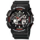 【CASIO】卡西歐 G-SHOCK系列 個性機械感三眼雙顯電子錶 (黑/紅 GA100-1A4 )