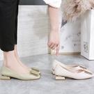 方頭淺口平底鞋女單鞋2020新款韓版百搭粗跟中跟軟皮舒適四季瓢鞋