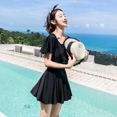 泳衣女連體平角遮肚顯瘦保守裙式大碼聚攏性感韓國溫泉2019新款黑名品匯