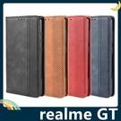 realme GT 復古格紋保護套 磨砂皮質側翻皮套 隱形磁吸 支架 插卡 手機套 手機殼