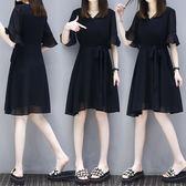 (批發價不退換)2501#大碼女裝胖MM2019夏裝新款顯瘦時尚透氣喇叭袖雪紡連身裙F-4F088日韓屋