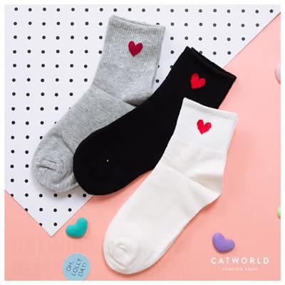 Catworld 愛心刺繡坑條棉質長襪【18900234】‧F*特價