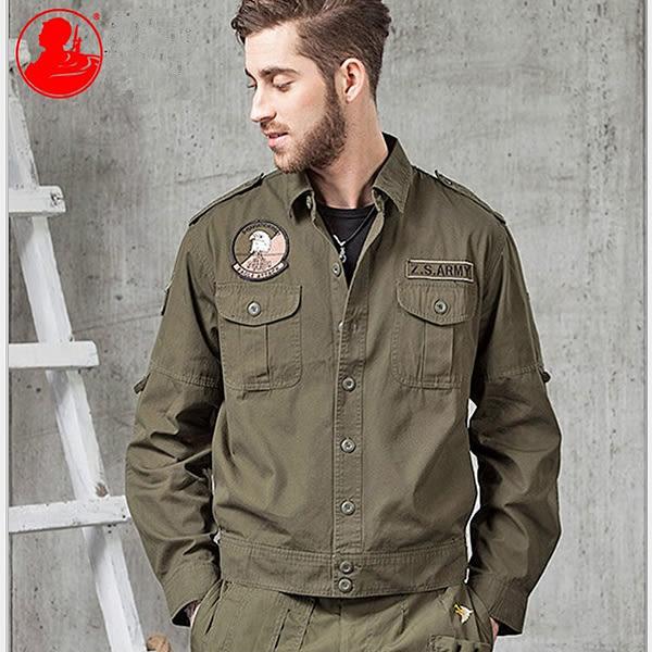 【美國熊】街頭潮牌 美式軍風 刺繡徽章 短版修身版型 襯衫式夾克  [ZSA-01]