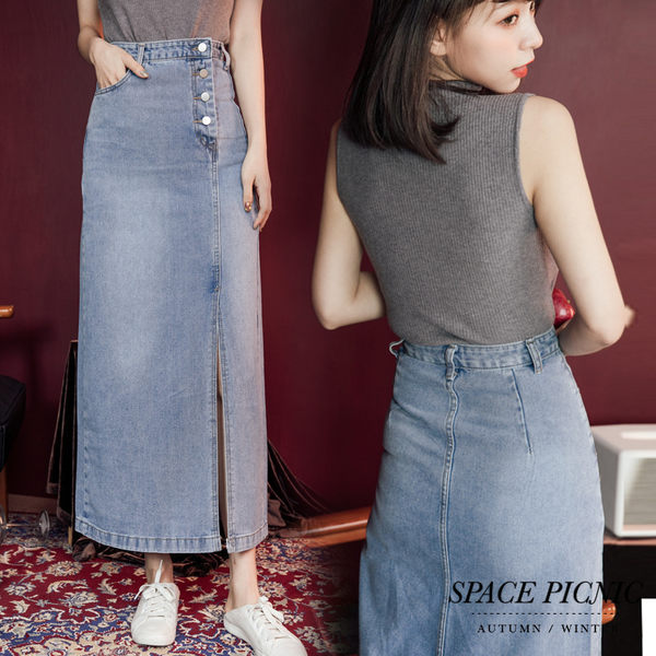 長裙 Space Picnic|側邊排扣設計單寧牛仔長裙(預購)【C19092078】
