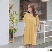《DA7512》簡約休閒V領短袖寬版洋裝/長版上衣 OrangeBear