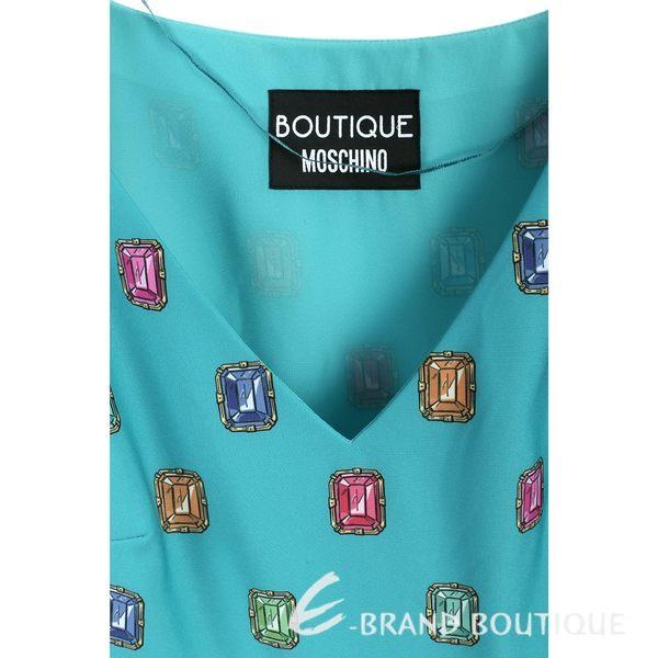 BOUTIQUE MOSCHINO 藍綠色寶石圖騰V領長袖洋裝 1540325-08