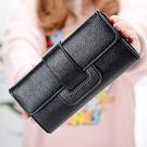 女包包 現貨 長夾 新款韓系大容量搭扣長皮夾 手拿包 手機錢包 -8M249 禮物