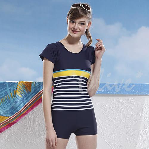 ☆小薇的店☆泳之美品牌【簡約條紋拼接】時尚二件式短袖泳裝特價1090元 NO.2266(3L)加大款