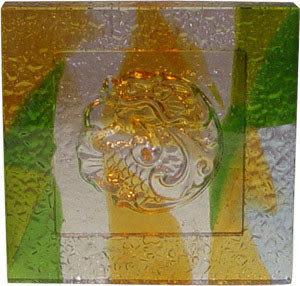 鹿港窯~居家開運琉璃磚【雙龍戲珠(陰雕)】附古法製作珍藏保證卡◆免運費送到家