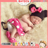 童裝 嬰兒攝影寫真粉色米妮帽+包屁褲+襪套 套裝
