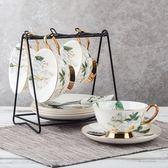 四福 歐式宮廷陶瓷咖啡杯子套裝 英式下午茶杯紅茶 復古英倫玫瑰【店慶8折促銷】