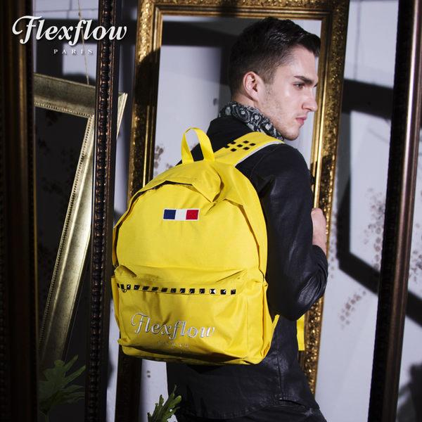 Flexflow-龐畢度系列法式復古刺繡鉚釘背包-黃色