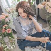 東京著衣【YOCO】俏麗女孩荷葉七分澎袖條紋上衣-S.M.L(180727)