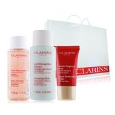 CLARINS 克蘭詩 卸妝乳+晚霜+精華露洗卸保養提袋防護組