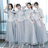 中式伴娘服女長款姐妹團宴會禮服長袖新款春季民國風復古灰色 草莓妞妞