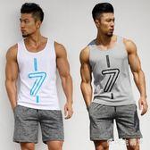 中大碼運動套裝健身背心男套裝寬鬆T恤無袖速干跑步籃球坎肩健身衣 QX4425 『愛尚生活館』