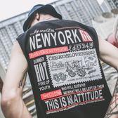 萬聖節快速出貨-夏季無袖T恤男嘻哈潮流韓版寬鬆港風坎肩短袖無肩背心上衣
