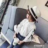 女童長袖襯衫-春季款純色女童時尚公主可愛襯衫 女寶寶繫帶方領襯衣九分袖 多麗絲