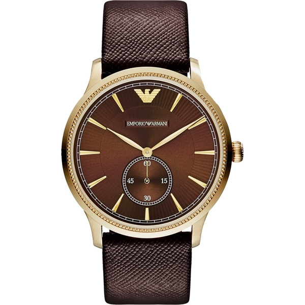 Emporio Armani 亞曼尼 Classic 爵士時尚小秒針手錶-咖啡x金框 AR1799