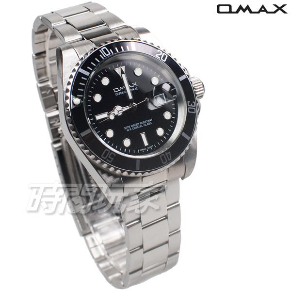 OMAX 十足個性 時尚流行錶 水鬼錶 加強夜光 不銹鋼帶 男錶 防水手錶 OM4057黑框黑