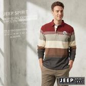 【JEEP】撞色條紋厚棉長袖POLO衫 (紅木)