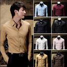 春裝  韓版 修身 男士長袖襯衫 8色入  E2065