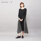 a la sha +a 條紋圓點拼接長袖洋裝