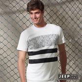【JEEP】美式印花純棉短袖TEE 白色 (合身版)