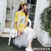 裙子sukol少女夏裝新款韓版寬鬆T恤裙下擺蕾絲拼接針織洋裝 糖糖日系森女屋