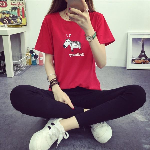 (全館一件免運)DE SHOP~韓版可愛斑馬圖案T恤女(T-337)均碼