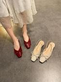 2020夏季新款韓版百搭方頭蝴蝶結粗跟女鞋復古方扣淺口包頭涼鞋名品匯