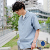 GLOBAL WORK男素面格紋開襟短袖襯衫上衣-三色