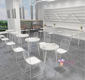 桌椅組合 奶茶店咖啡廳桌椅組合網紅簡約大理石餐飲甜品店桌椅休閒餐廳桌椅T 2色