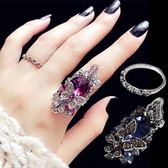 韓版時尚復古食中指指環女鑲鉆水晶裝飾戒指簡約個性潮人學生飾品【店慶8折】