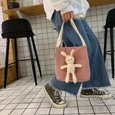 卡通水桶包搞怪小包包女百搭可愛帆布側背手提包【小酒窩服飾】