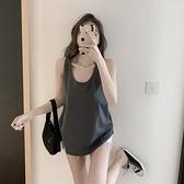 無袖T恤 港味U領背心女夏季寬鬆遮肉顯瘦無袖t恤外穿大碼打底工字吊帶上衣