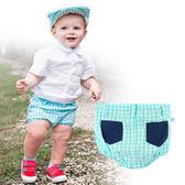 男童短褲/ 英倫風 / 海洋格紋小短褲 美國RuggedButts